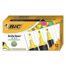 BIC BL311-YEL Brite Liner 3 'n 1 Highlighters, 3 'n 1 Chisel Tip, Yellow, Dozen