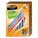 BIC GSM609AST Round Stic Xtra Precision Stick Ballpoint Pen, 1mm, Assorted Ink/Barrel, 60/Pack