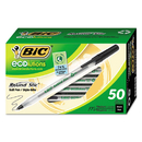Bic GSME509BK Ecolutions Round Stic Ballpoint Pen, Black Ink, 1mm, Medium, 50/Pack