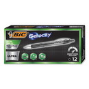 BIC RGU11BK Gel-ocity Ultra Retractable Gel Pen, Medium 0.7 mm, Black Ink/Barrel, Dozen