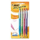 BIC CORPORATION BICVCGAP41ASST Atlantis Original Retractable Ballpoint Pen, Assorted Ink, Medium, 1mm, 4/pack
