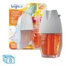 BRIGHT Air 900254 Electric Scented Oil Air Freshener Warmer and Refill Combo, Hawaiian Blossoms/Papaya, 8/Carton