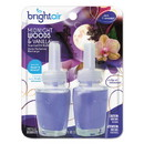 BRIGHT Air 900272 Electric Scented Oil Air Freshener Refill, Midnight Woods/Vanilla, 0.67 oz Jar, 2/Pack, 6 Packs/Carton