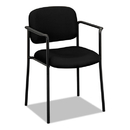 BASYX BSXVL616VA10 Vl616 Series Stacking Guest Chair With Arms, Black Fabric