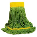 Boardwalk BWK1200MCT EcoMop Looped-End Mop Head, Recycled Fibers, Medium Size, Green, 12/Carton