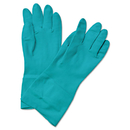 Boardwalk BWK183M Flock-Lined Nitrile Gloves, Medium, Green, Dozen