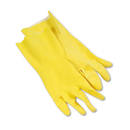 Boardwalk BWK242L Flock-Lined Latex Cleaning Gloves, Large, Yellow, 12 Pairs