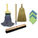 Boardwalk BWKCLEANKIT Cleaning Kit, 1 Mop, 2 Handles, 1 Push Broom, 1 Maids Broom, 4 Microfiber Wipes
