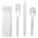 Boardwalk FKTNHWPSWH Four-Piece Cutlery Kit, Fork/Knife/Napkin/Teaspoon, Heavyweight, White, 250/CT