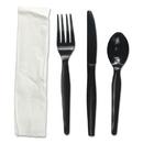 Boardwalk FKTNMWPSBLA Four-Piece Cutlery Kit, Fork/Knife/Napkin/Teaspoon, Black, 250/Carton
