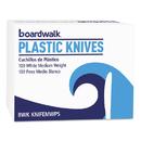 Boardwalk BWKKNIFEMWPSBX Mediumweight Polystyrene Cutlery, Knife, White, 100/box