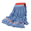Boardwalk BWKLM30311L Cotton Mop Heads, Cotton/Synthetic, Large, Looped End, Wideband, Blue, 12/CT