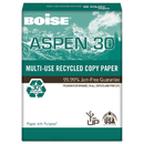BOISE CASCADE PAPER CAS054907 Aspen 30% Recycled Multi-Use Paper, 92 Bright, 20lb, 11 X 17, White, 2500/ct