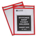 C-Line 43969 Stitched Shop Ticket Holders, Top Load, Super Heavy, Clear, 6