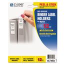 C-Line CLI70023 Self-Adhesive Ring Binder Label Holders, Top Load, 1-3/4 X 2-3/4, Clear, 12/pack