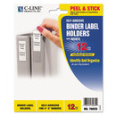 C-Line CLI70025 Self-Adhesive Ring Binder Label Holders, Top Load, 1-3/4 X 3-1/4, Clear, 12/pack