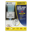 C-Line 96053 Name Badge Kits, Top Load, 4 x 3, White, Blue Bolo Cord, 25/Box