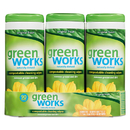 Green Works CLO 30655 Compostable Cleaning Wipes, 7 x 7 1/2, Original Scent, 30/Canister, 3/Carton