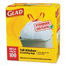 Glad CLO78526CT Tall Kitchen Drawstring Bags, 24 X 27 3/8, 13gal, .95mil, White, 100/box, 4/ct