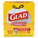 Glad 78526 Tall Kitchen Drawstring Bags, 24 x 27 3/8, 13gal, .95mil, White, 100/Box