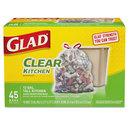 Glad CLO78543 Recycling Tall Kitchen Trash Bags, Clear, Drawstring, 13 Gal, 45/box