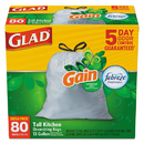 Glad 78900BX OdorShield Tall Kitchen Drawstring Bags, Gain Original, 13 gal, White, 80/Box