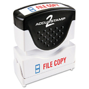 Accustamp COS035524 Pre-Inked Shutter Stamp With Microban, Red/blue, File Copy, 1 5/8 X 1/2