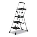 Cosco CSC11880PBLW1 Max Work Steel Platform Ladder, 22w X 31d X 55h, 3-Step, Black