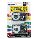 CASIO ENTERPRISES CSOXR12WE2S Tape Cassettes For Kl Label Makers, 12mm X 26ft, Black On White, 2/pack