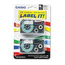 CASIO ENTERPRISES CSOXR18X2S Tape Cassettes For Kl Label Makers, 18mm X 26ft, Black On Clear, 2/pack