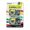 CASIO ENTERPRISES CSOXR18YW2S Tape Cassettes For Kl Label Makers, 18mm X 26ft, Black On Yellow, 2/pack