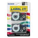 CASIO ENTERPRISES CSOXR9WE2S Tape Cassettes For Kl Label Makers, 9mm X 26ft, Black On White, 2/pack