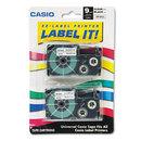 CASIO ENTERPRISES CSOXR9X2S Tape Cassettes For Kl Label Makers, 9mm X 26ft, Black On Clear, 2/pack