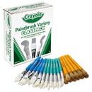 Crayola 50036 Large Variety Paint Brush Classpack, Natural Bristle/Nylon, Flat/Round, 36/Set