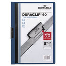 Durable DBL221407 Vinyl Duraclip Report Cover, Letter, Holds 60 Pages, Clear/dark Blue