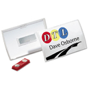 Durable DBL821519 Click-Fold Convex Name Badge Holder, Double Magnets, 3 3/4 X 2 1/4, Clear, 10/pk