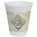 Dart DCC8X8G Café G Foam Hot/Cold Cups, 8 oz, Brown/Green/White, 1,000/Carton