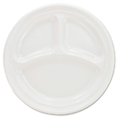 Dart DCC9CPWF Plastic Plates, 9 Inches, White, 3 Compartments, Round, 125/pack
