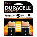 DURACELL PRODUCTS COMPANY DURMN1604B2Z Coppertop Alkaline Batteries With Duralock Power Preserve Technology, 9v, 2/pk