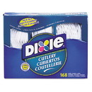 Dixie CM168 Combo Pack, Tray with White Plastic Utensils, 56 Forks, 56 Knives, 56 Spoons, 6 Packs