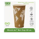 ECO-PRODUCTS, INC. ECOEPBHC20WA World Art Renewable Compostable Hot Cups, 20 Oz., 50/pk, 20 Pk/ct