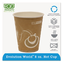 Eco-Product ECOEPBRHC8EW Evolution World 24% Recycled Content Hot Cups - 8oz., 50/pk, 20 Pk/ct