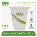 ECO-PRODUCTS, INC. ECOEPCC12GS Greenstripe Renewable & Compostable Cold Cups - 12oz., 50/pk, 20 Pk/ct