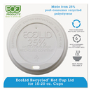 Eco-Product ECOEPHL16WR Ecolid 25% Recy Content Hot Cup Lid, White, F/10-20oz, 100/pk, 10 Pk/ct
