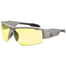 ergodyne 52150 Skullerz Dagr Safety Glasses, Matte Gray Frame/Yellow Lens, Nylon/Polycarb