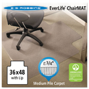 E.S. ROBBINS ESR122073 Everlife Chair Mats For Medium Pile Carpet With Lip, 36 X 48, Clear