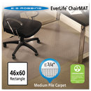 E.S. ROBBINS ESR122371 Everlife Chair Mats For Medium Pile Carpet, Rectangular, 46 X 60, Clear