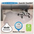 Es Robbins ESR122775 Everlife Chair Mats For Medium Pile Carpet, Contour, 66 X 60, Clear