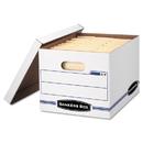 Bankers Box FEL0006301 Easylift Storage Box, Letter/letter, Lift-Off Lid, White/blue, 12/carton