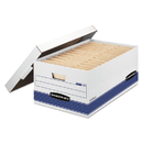 Bankers Box FEL00702 Stor/file Storage Box, Legal, Locking Lid, White/blue, 12/carton